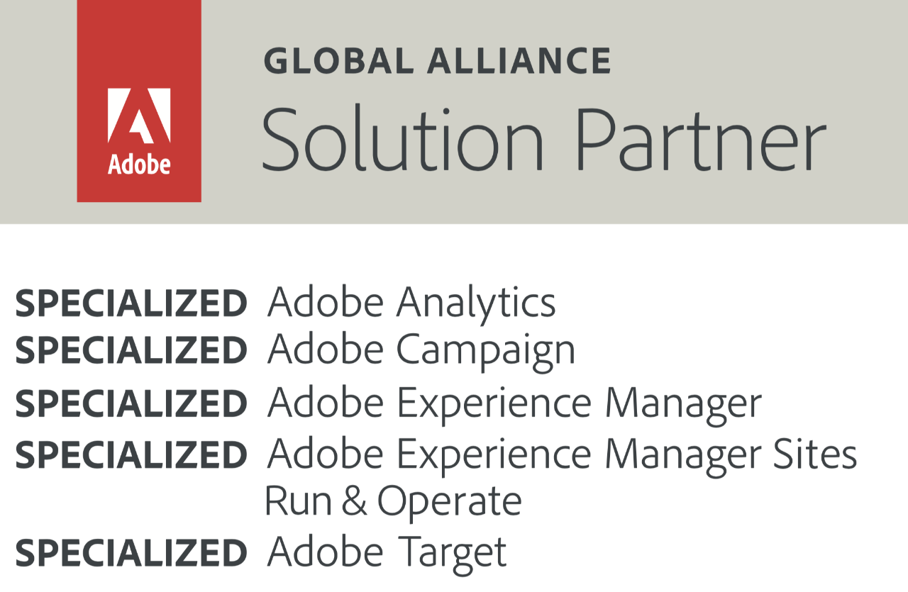 Adobe Global Alliance Partner badge showing 4 specializations